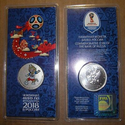 25 Rubles Russia CN 2018 FIFA World Cup Football 3rd coloured coin Blister Unc