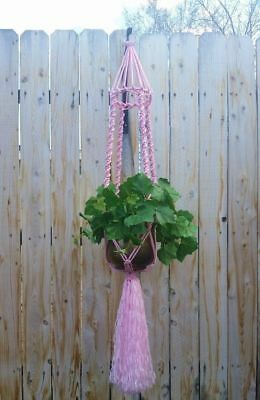 """Large Macrame Plant Hanger~Candy Pink-Bird Cage Top~54"""" Solid Twist Pattern"""