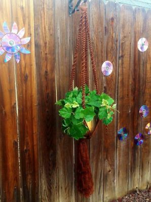 """Large Macrame Plant Hanger~Cocoa Brown~54"""" Total~Twist/Square Knot Pattern"""