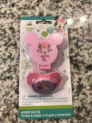 Infant Baby Girls Pink Minnie Mouse Pacifier & Pacifier Holder New