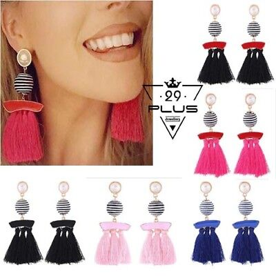 Fashion Women's Boho Pearl Ball Pompom Long Tassel Drop Earrings Gift Party AU