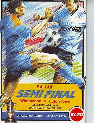Wimbledon V Luton Town  9 April 1988 Fa Cup Semi Final Vgc