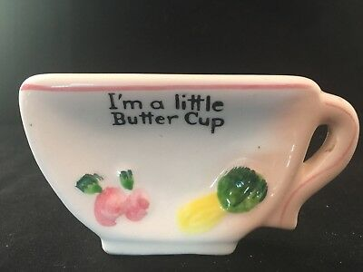 Vintage Porcelain Butter Pat Dish, Cup Shape, Hand Painted, Marked T73, Cute
