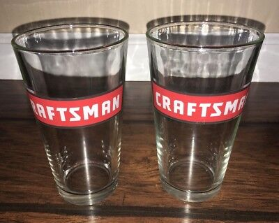 Set of TWO 2 Classic Sears CRAFTSMAN 16oz Pint Beer Glasses Cups