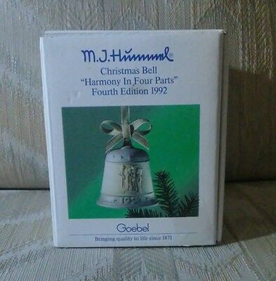 MJ Hummel Christmas Bell Ornament Goebel 1991 Harmony In 4 Parts 4th Edition