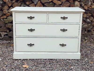 Antique Edwardian Set Of 4 Drawers Painted Shabby Chic.