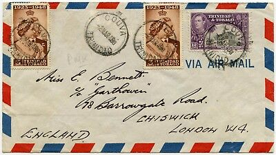 Trinidad Couva Village Royal Silver Wedding Franking Airmail 1949