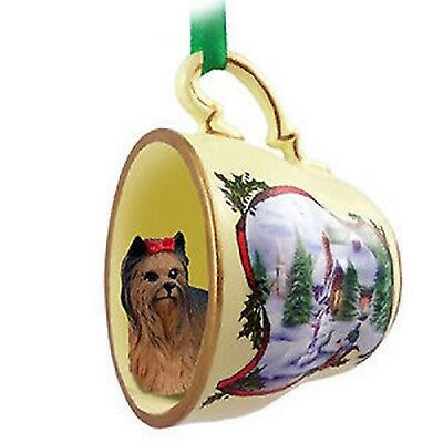 Victorian Trading Co Yorkshire Terrier in Tea Cup Christmas Ornament 24D