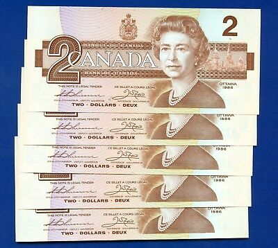 5 Canada 1986 2 Dollar Bank Notes UNC Consecutive S/N's EGK5307545 - 49