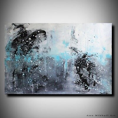 Large Modern Abstract Black Blue Grey Original Painting on Canvas by Ann Mikhail