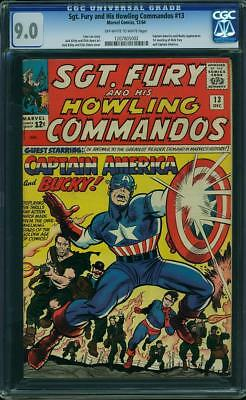 Sgt Fury 13 CGC 9.0 VF/NM Marvel 1964 OW/W Captain America cover.