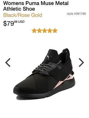 3cebef42a4b PUMA WOMENS MUSE Metal Athletic Shoe in Black Rose Gold Size 8-comes ...