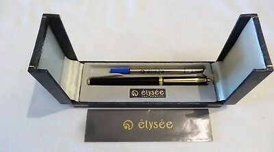 Elysee Black Lacquer Rollerball Pen With Gold Plated Accents In Box - Mint