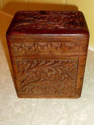 Old wooden CIGARETTE box w/ carved flowers leaves on Removable Cover & Sides C8