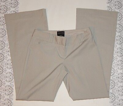 Beige Pinstripe Flare Dress Pants Size 0 THE LIMITED Drew Fit Low Rise Tan 31x31
