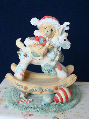 Cherished Teddies - Beth - Bear On Rocking Reindeer Figurine - 950807 - 1992