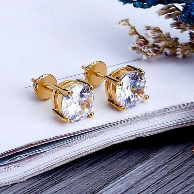18k IP Gold Plated Iced Out Round Cut Clear AAA CZ Screw Back Stud Earrings