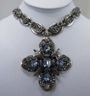 Vintage Napier Necklace, Maltese Cross Shape, Faceted Crystals, Statement, Book