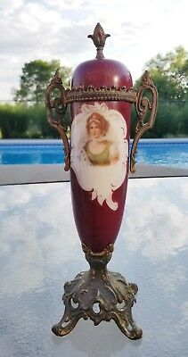 Antique Porcelain Urn w/Metal Base ~ Germany? Austria? Italy? Lady Front