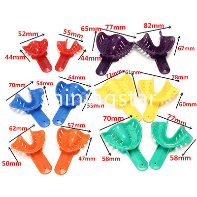 Dental Plastic Impression Trays 12 Pcs/set Autoclavable Inclued 6 Sizes Colorful