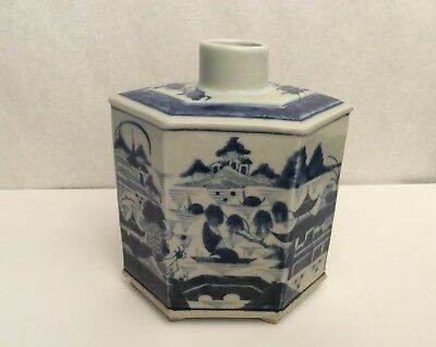 Antique Chinese Blue and White Canton Tea Caddy