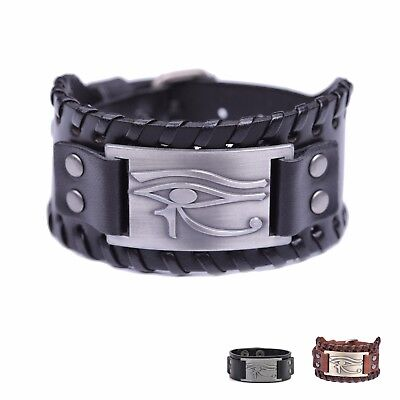 Eye of Horus Wide Leather Bracelet Ancient Egyptian Adjustable Bangle for Men