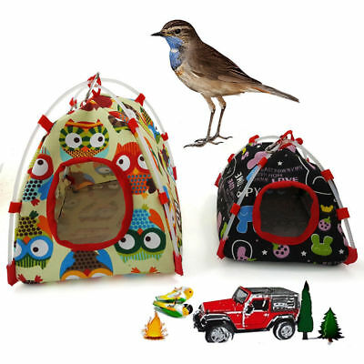 Pet Parrot Canvas Tent Happy Hut Bird Cage Toy Nest Hammock Bed House S/L New