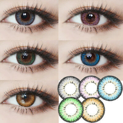 1 Pair Colored Contact Lenses 0 Degree Party Women Eye Makeup Eyewear Commode