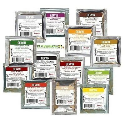 Gervin Yeast Full Range for all Wine, Mead, Cider and Ale