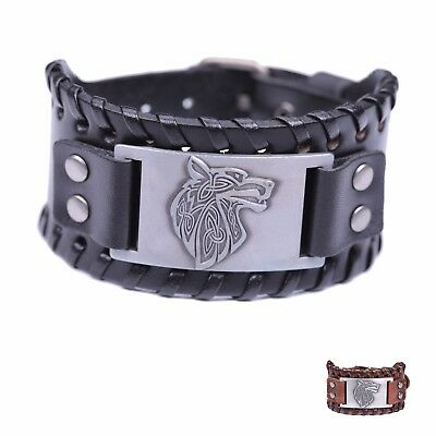 Viking Pagan Celtic Knot Wolf Head Fenrir Wide Leather Bracelets for Men