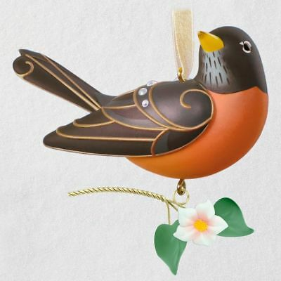 Beauty of Birds Robin 2018 Hallmark Ornament Jewels Orange White Spring Flower