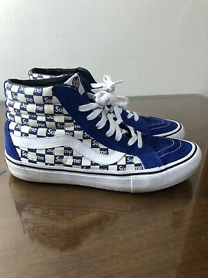 ea50579ed2 VANS SK8-HI REISSUE Pro Supreme Checkers Blue   White Men s Size 9.5 ...