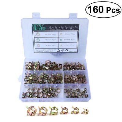 160Pcs 7-17mm Spring Clip Fuel Line Hose Water Pipe Air Tube Clamps Fastener