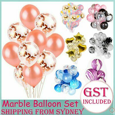 15-120pc Marble Confetti Helium Balloons Agate Sequins Balloon Set Wedding Party