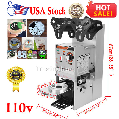 Electric Sealing Machine Cup Sealer Boba Bubble Tea Coffee 300-500 Cups/Hour US