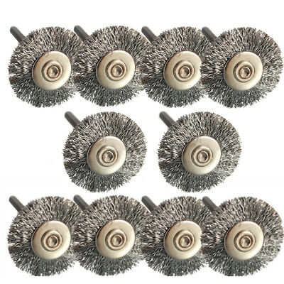 10x 25mm Steel Wire Wheel Brush Buffing Rotary Disc Polishing Cleaning Drill Bit