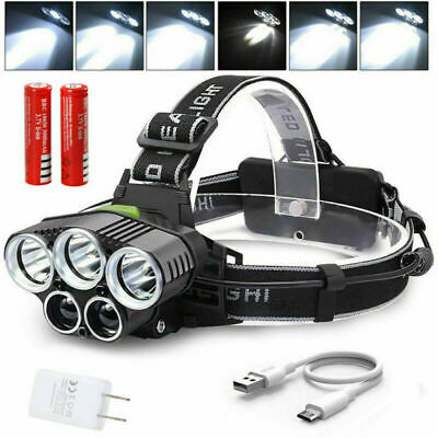 USB Headlamp 5* XM-L T6 +2*COB LED Head Light Front Torch Flashlight 18650 Lamp