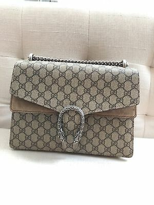2217989c7e3 GUCCI DIONYSUS GG Supreme Medium coated canvas and suede shoulder ...