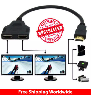 1 In 2 Out HDMI Converter Connect Cable Cord 2 Dual Port Y Splitter 1080P Male