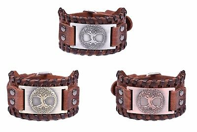 Vintage Talisman Norse Tree of Life Yggdrasil Celtic Knot Metal Leather Bracelet