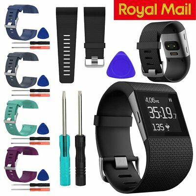 Replacement Silicone Wristband Strap Watch Band Complete Kit For Fitbit Surge UK