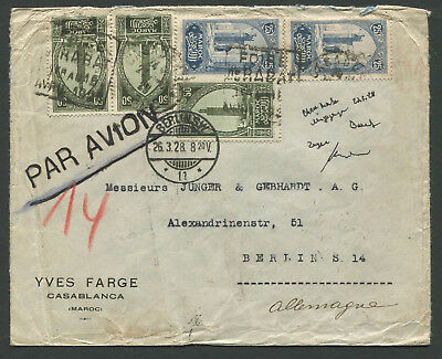 Morocco 1928 Airmail cover to Germany with ms stamp removed