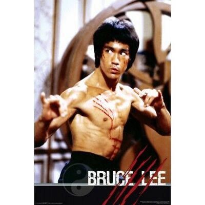 """BRUCE LEE POSTER - CLASSIC POSE WITH SCRATCHES ON CHEST - 36 x 24"""" 91x 61 cm"""