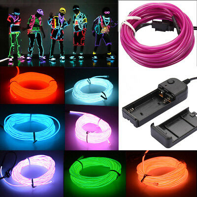 1-5M Battery Operated Luminescent Neon LED Lights Glow Wire Party Strip Rope /D2
