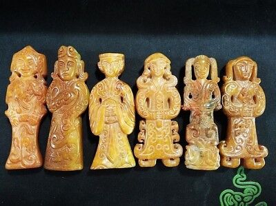 6 Pics Excellent Chinese old jade carved Ancient people statue/pendant A18