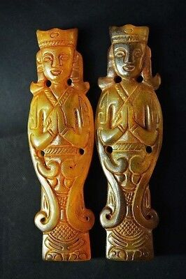 2 Pics Excellent Chinese old jade carved Ancient prayer statue/pendant A18