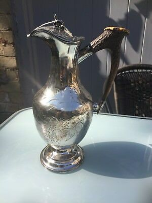Antique Silver Plated Engraved Claret Jug With Antler Handle Stamped 991