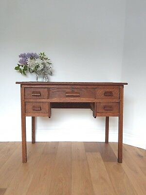 Vintage Desk 1950's Small Oak Desk Dressing Table Writing Desk Hall Table
