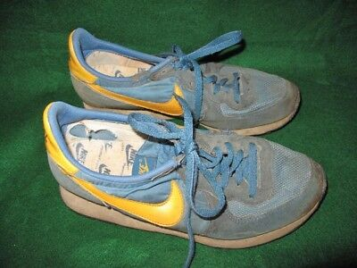 Vintage 80's NIKE Blue & Yellow Waffle Trainer Running Shoes Sneakers 8.5