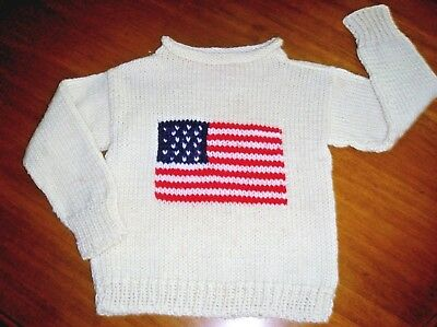 Hand knitted pullover SWEATER WITH AMERICAN FLAG, size 2-3T